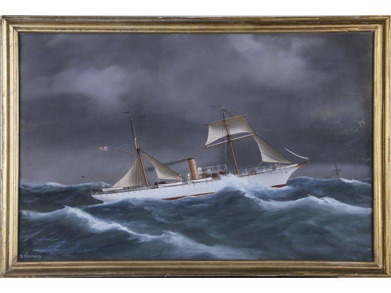151: Antonio DeSimone 19C Ship Columbia N.Y. Painting