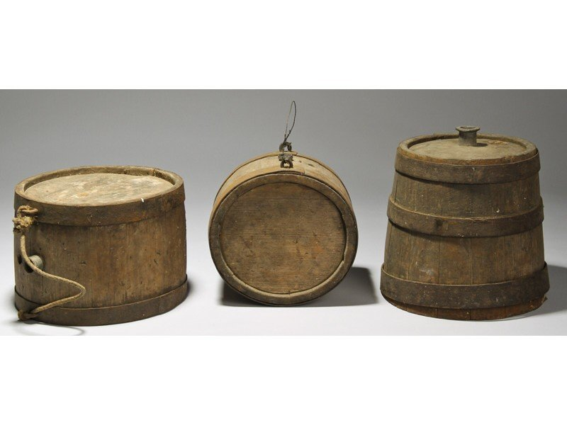 153: Early 19C Wooden Iron Strapped Canteens L.I., NY