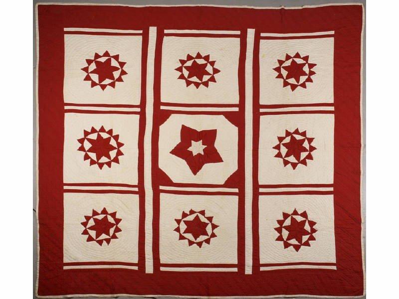156: Antique Turkey Red & White 19th C. Compass Quilt