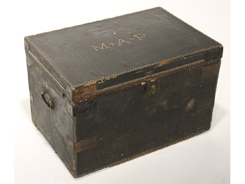 157: Leather Covered 19C Brass Tacked MAP Labeled Trunk