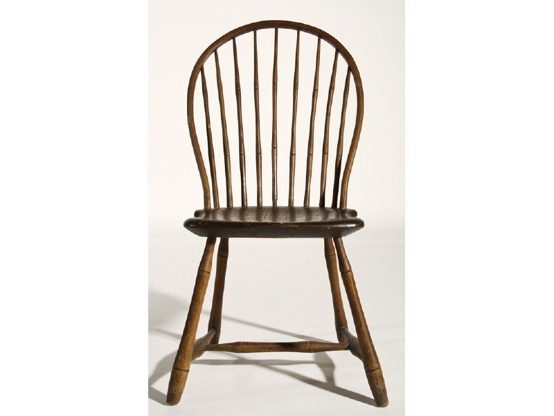 158: 19C Windsor Bamboo Turned Bow Back Side Chair
