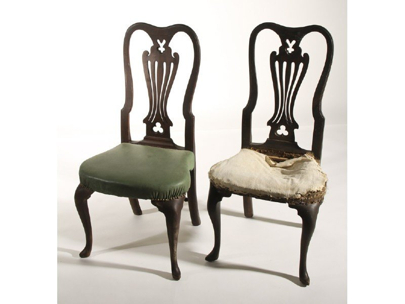 159: Pair of 18C Queen Anne Carved  Walnut Side Chairs
