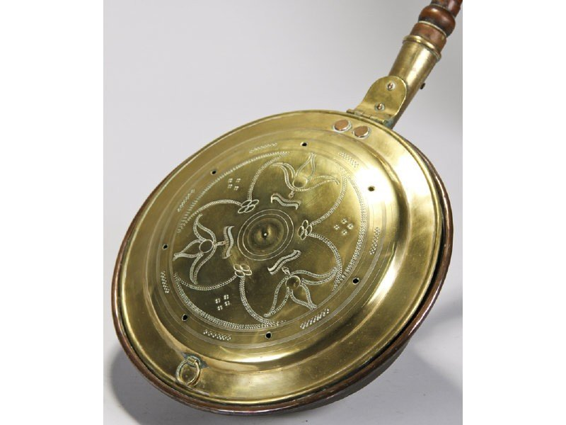 160: Brass Engraved 19C Bed Warmer with Wood Handle