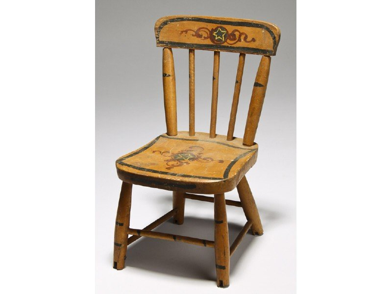 161: Old Paint Decorated Miniature Windsor Doll Chair