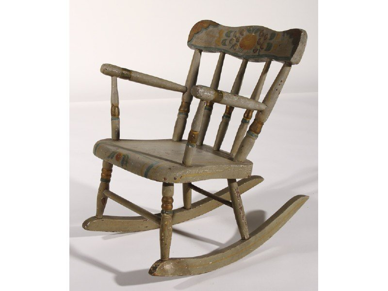 171: Early 20C Paint Decorated Childs Rocking Chair