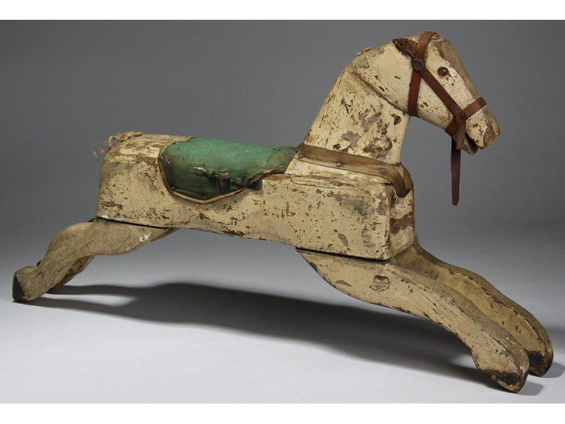 173: Original Antique 19C Rocking Horse Toy  w Saddle