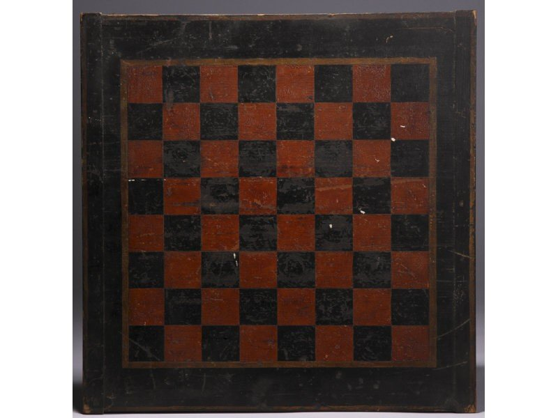 174: Old Paint  Decorated Pine Checkerboard Game Board