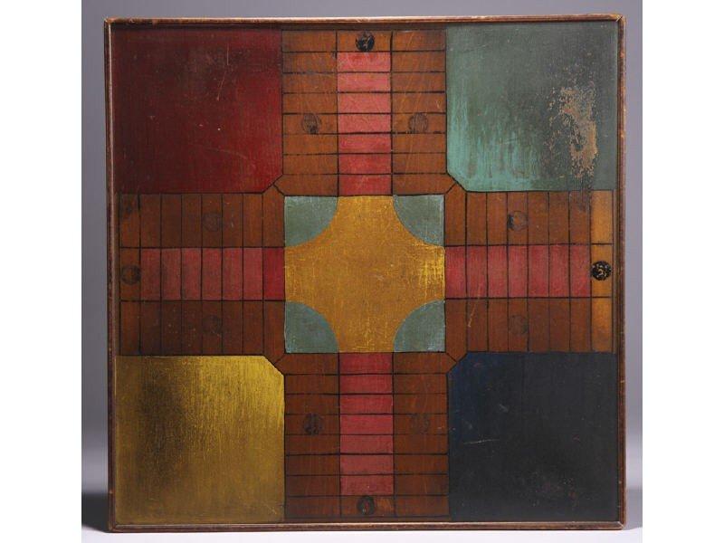 175: Painted Wood 19C Folk Art Parcheesi Game Board