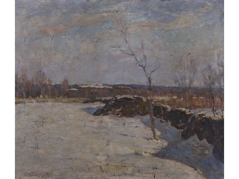 176: American Landscape  Oil Painting - Newcomb Macklin