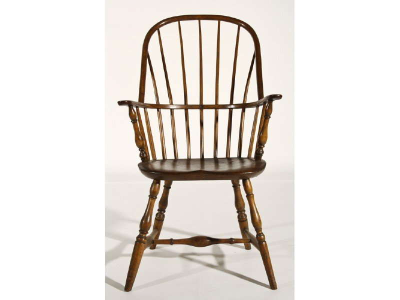 180: Signed 19 Century Windsor Sack Back Tall Arm Chair