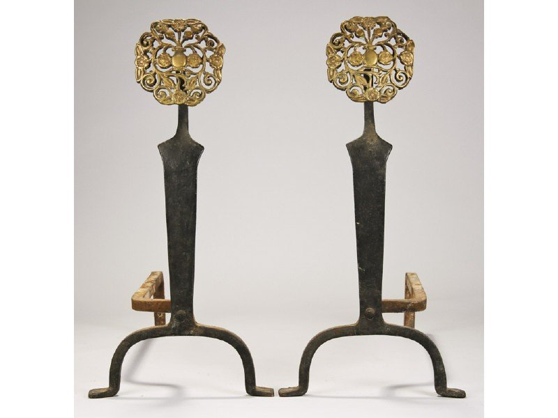 184: Pair of Old Floral Urn Form Brass Iron Andirons