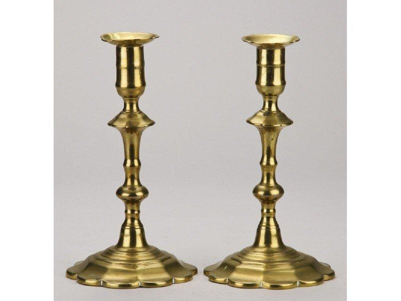 186: Queen Anne 18C Petal Form Pushup Candlesticks