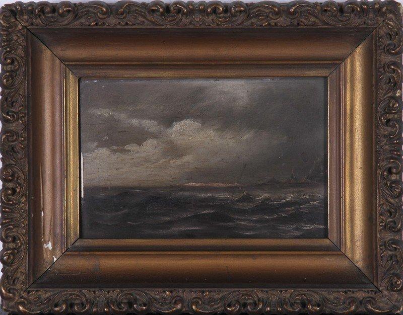 187: Two 19C Paintings Seascape Landscape Paintings