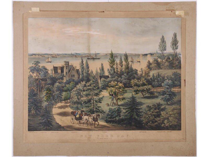 188: Original Currier & Ives 19C Print  - New York Bay