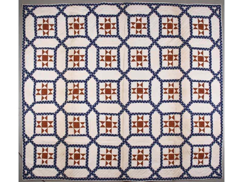 190: Red White Blue Antique 19C Lattice Quilt Calico