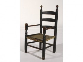 Childs 18 -19C Black Painted Ladder Back Armchair