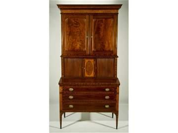 250: Rare 1816 Federal Mahogany Inlaid Tambour Desk