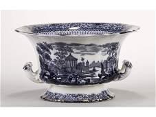 Dark Blue Ridgway Grecian Pattern Footed Bowl