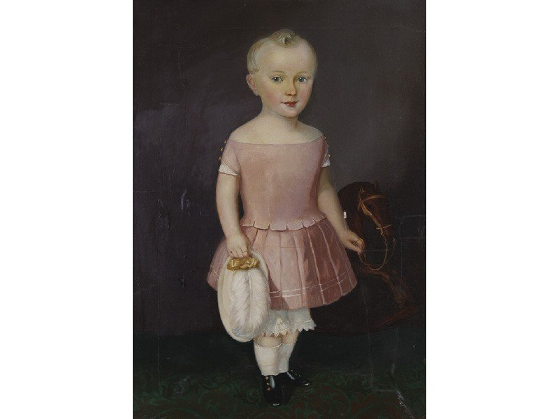 309: Boy in Pink Dress 1852 Portrait Oil Painting