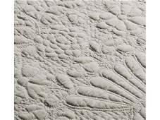 312: White Work 19C Trapunto Floral Urn Stuffed Quilt