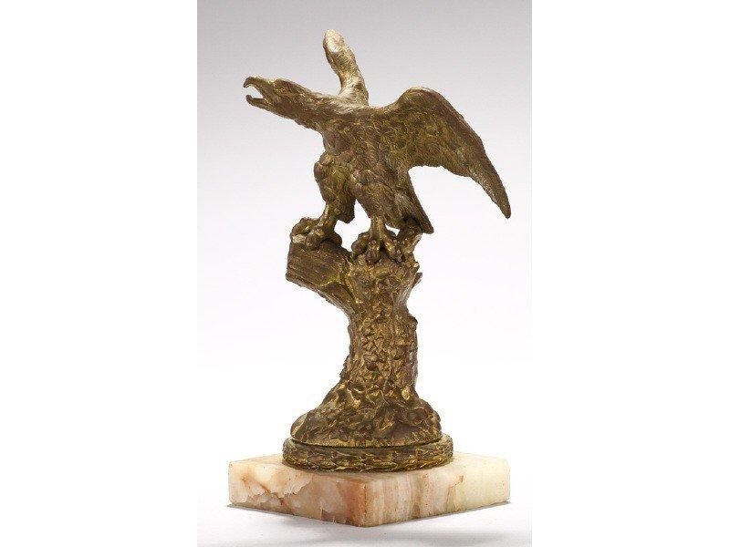 423: Old Gilt Bronze 19C Eagle Tree Stump Watch Holder
