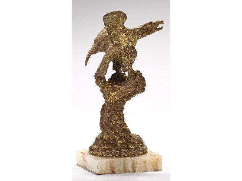 423: Old Gilt Bronze 19C Eagle Tree Stump Watch Holder - 2