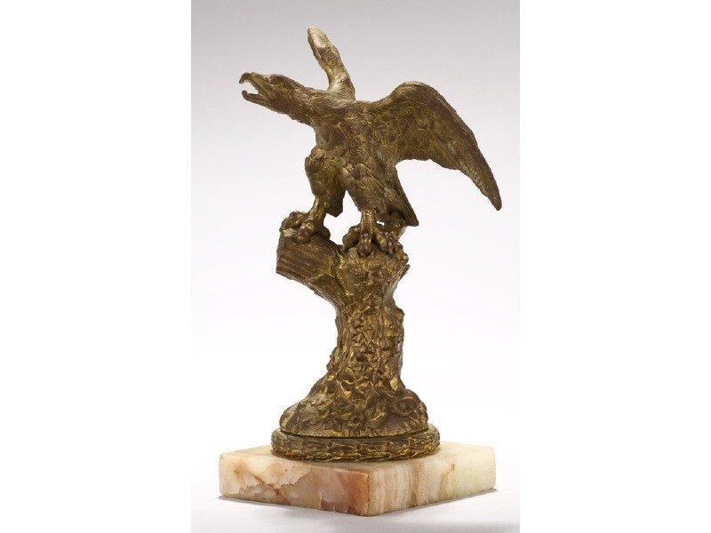 423: Old Gilt Bronze 19C Eagle Tree Stump Watch Holder - 5