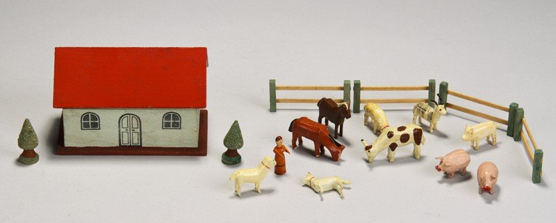 486: Painted Wood Toy Noah's Ark Farm House w Animals
