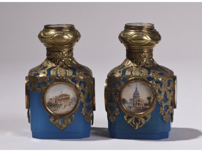Pair of Opaline Glass HP Scenic Perfume Bottles