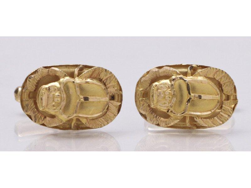 Egyptian 18K Yellow Gold Scarab Cuff Links
