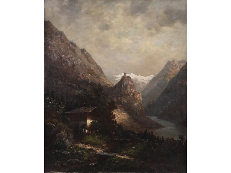 """A. HEIMBURG """"Mountain Woman at Well"""" Painting"""