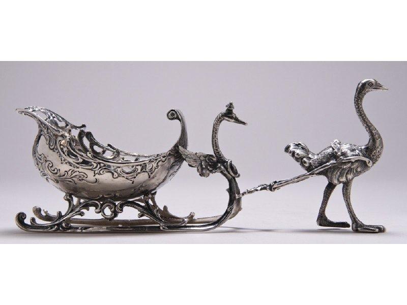 German 800 Silver Swan Sleigh Led by Ostrich Dish