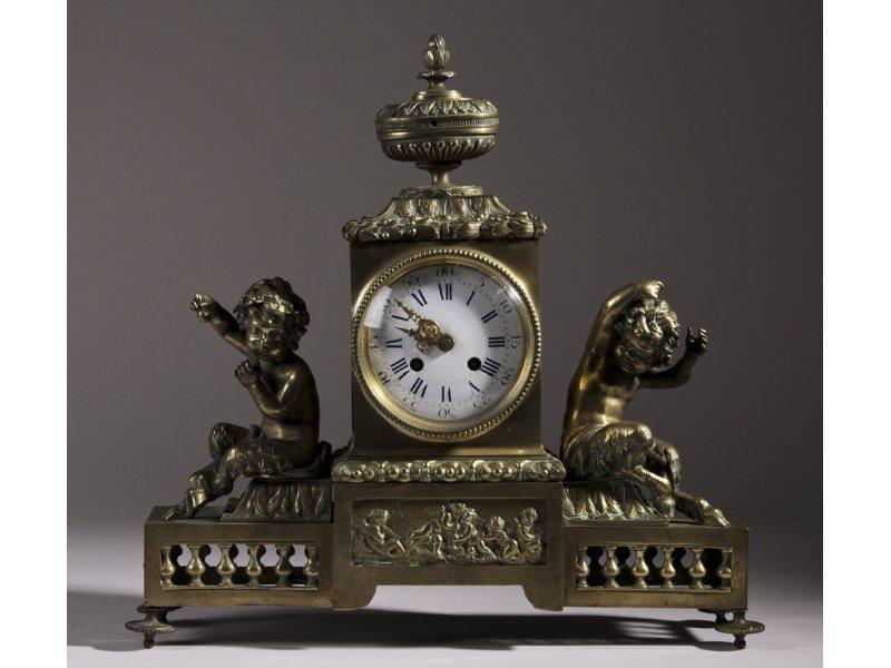 French 19C Bronze Cherub Satyr Brass Mantle Clock