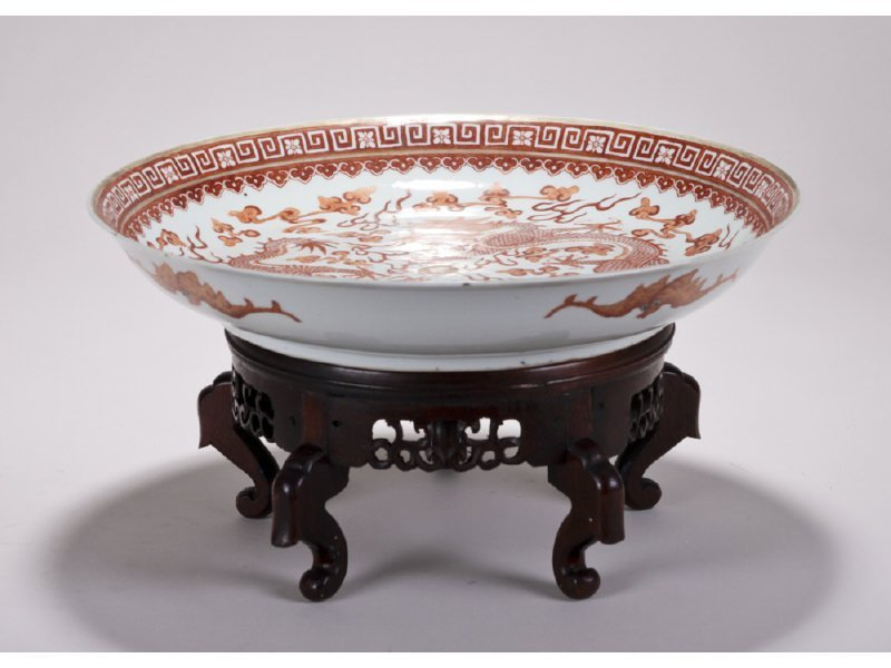 Chinese Signed 19C Porcelain Dragon Bowl on Stand