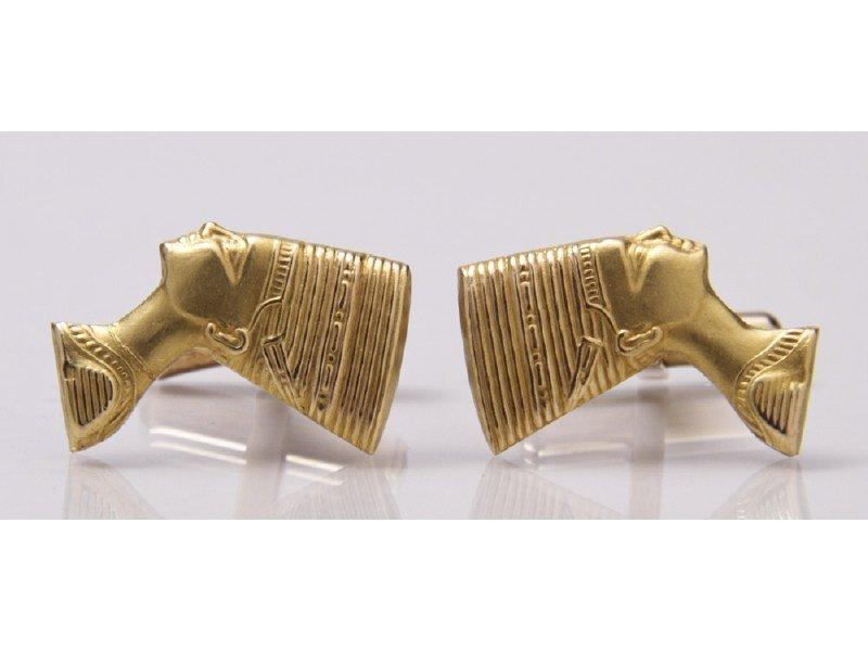 Nefertiti Egyptian 18K Yellow Gold Cuff Links