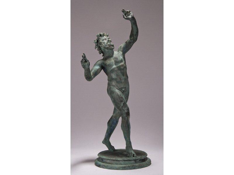 Signed 19C Verdigris Bronze Dancing Faun Sculpture