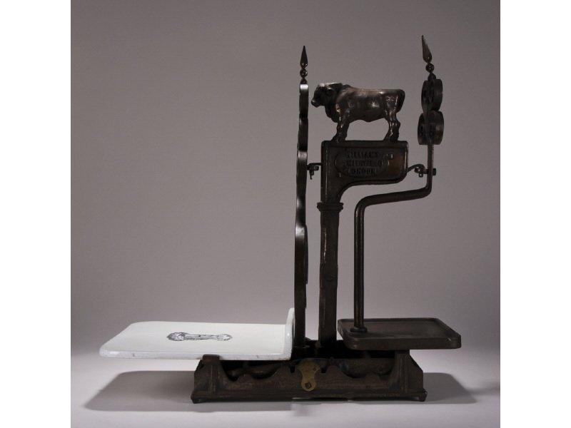 "William Smithfield 19C Figural Steer 24"" Butchers Scale"