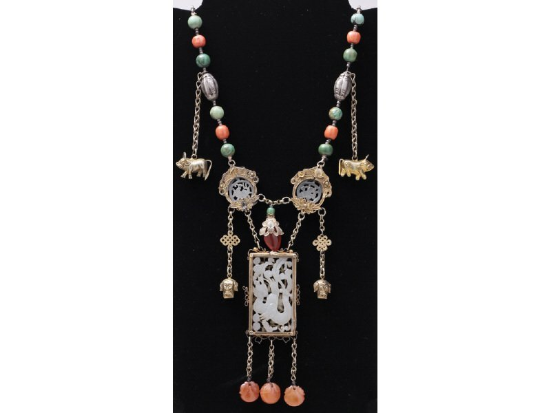 Chinese Carved Jade Carnelian Turquoise Necklace