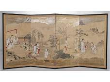 Japanese 19C Kano School Painted Folding Screen