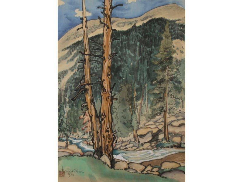 CHIURA OBATA 1885-1975 Upper Lyell Fork Woodblock Print