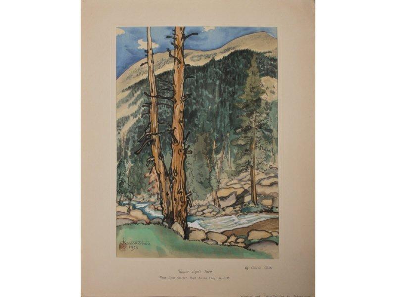 CHIURA OBATA 1885-1975 Upper Lyell Fork Woodblock Print - 2