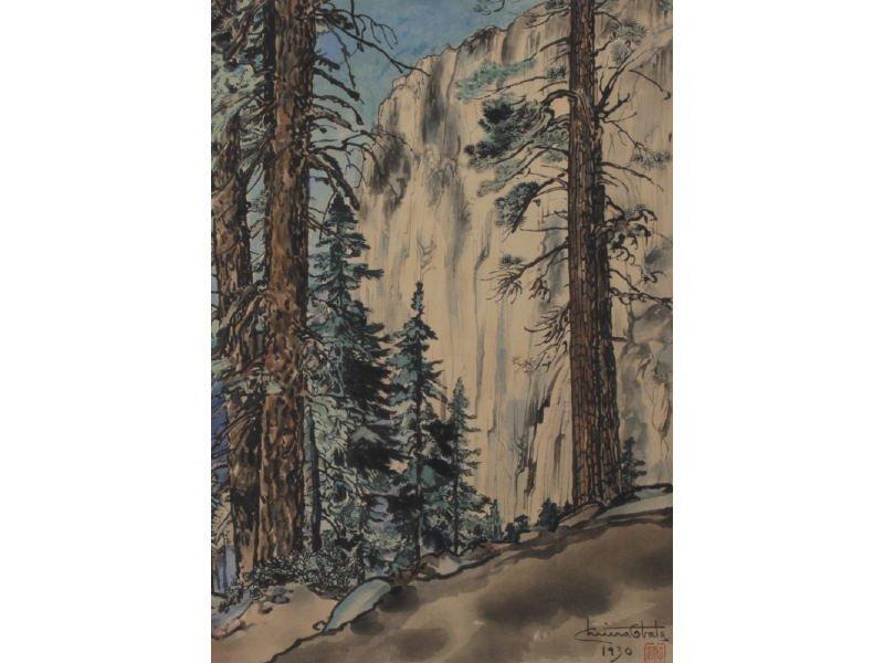 CHIURA OBATA 1885-1975 Upper Lyell Fork Woodblock Print - 4