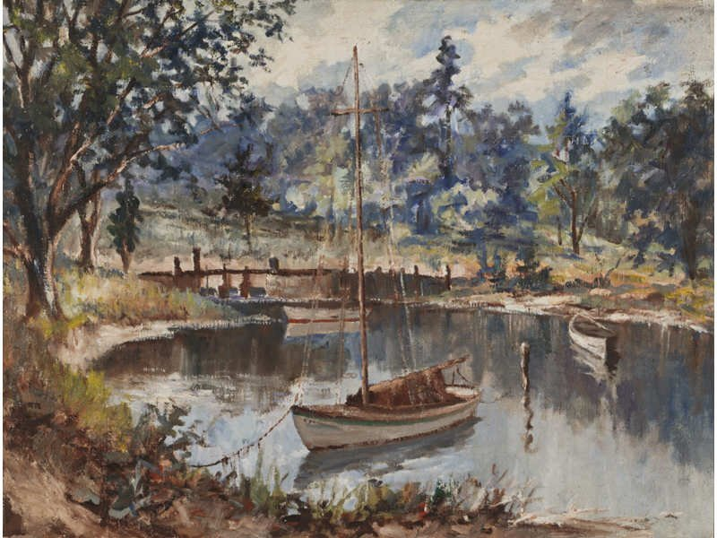 """A Quiet Cove"" American early 20th C Landscape Painting"