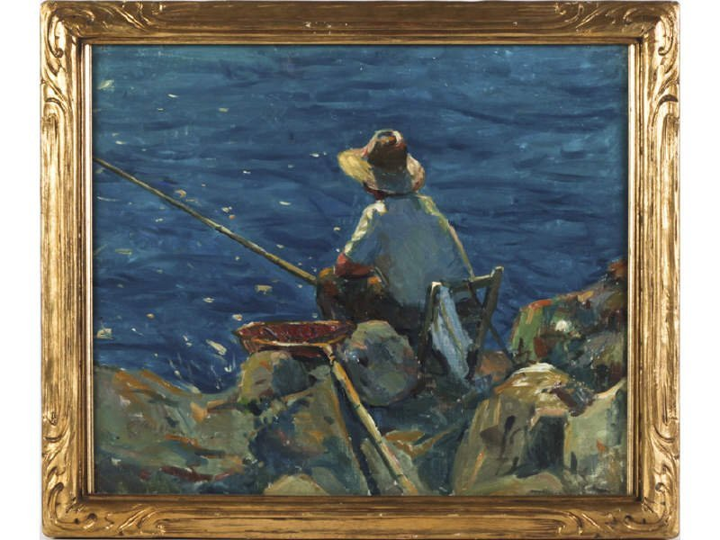 "R. ANCHON ""Boy Fishing"" Oil Painting Period Gilt Frame"