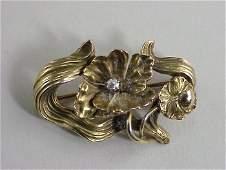 350 ART NOUVEAU 14k Gold Floral Diamond Pin