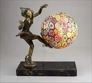 406: ART DECO 1920s Dancer Millefiori Lamp