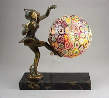 406: ART DECO 1920s Dancer Millefiori Lamp