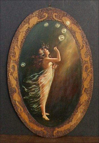 469: Art Nouveau Nude Bubble Blower PAINTING.