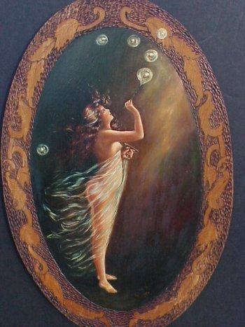 469: Art Nouveau Nude Bubble Blower PAINTING. - 2