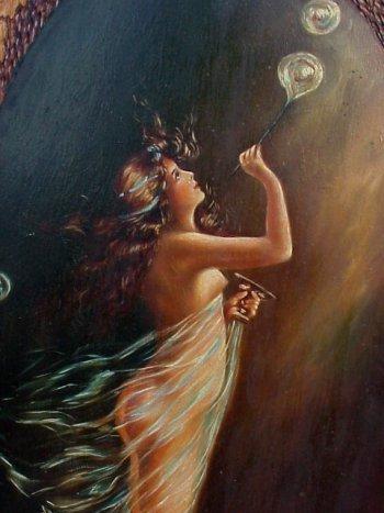 469: Art Nouveau Nude Bubble Blower PAINTING. - 3